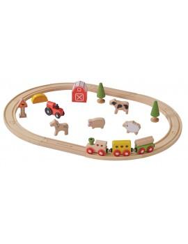 Conjunto tren de madera y granja
