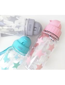 Botella con pajita estrellas (varios colores)