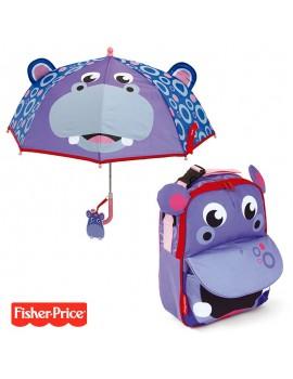 Pack mochila y paraguas Fisher Hipopótamo