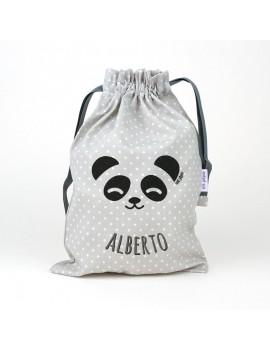 Saquito merienda panda personalizada