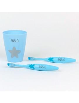 Set 2 Cepillos de dientes + Vasito Personalizados
