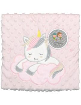 Manta para bebé topitos unicornio Gamberritos