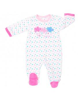 Pijama atercipelado niña. (Talla 0 a 6 meses)