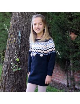 Vestido pompón. Talla 2 a 14 años