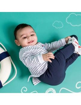 CONJUNTO DOS PIEZAS RAYAS MARINO (talla 6 meses)