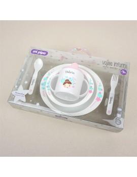 Vajilla personalizada bebé 5 piezas HADA