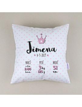 Cojín almohada personalizado nacimiento corona