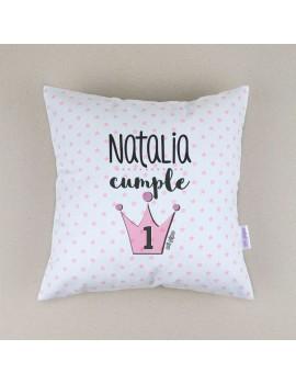 Cojín almohada personalizado corona 1er cumpleaños