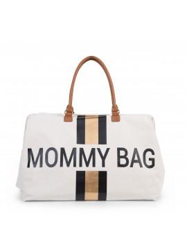 Mommy bag Líneas Negras y Doradas - Blanca