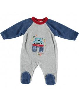 Pijama bordado de terciopelo. Talla 0- 6 meses