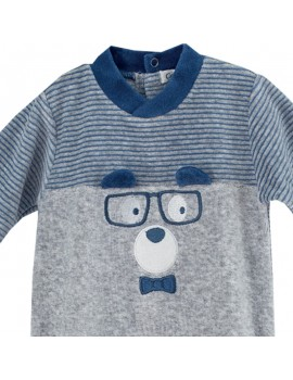 Pijama bordado de terciopelo. Talla 0-24 meses