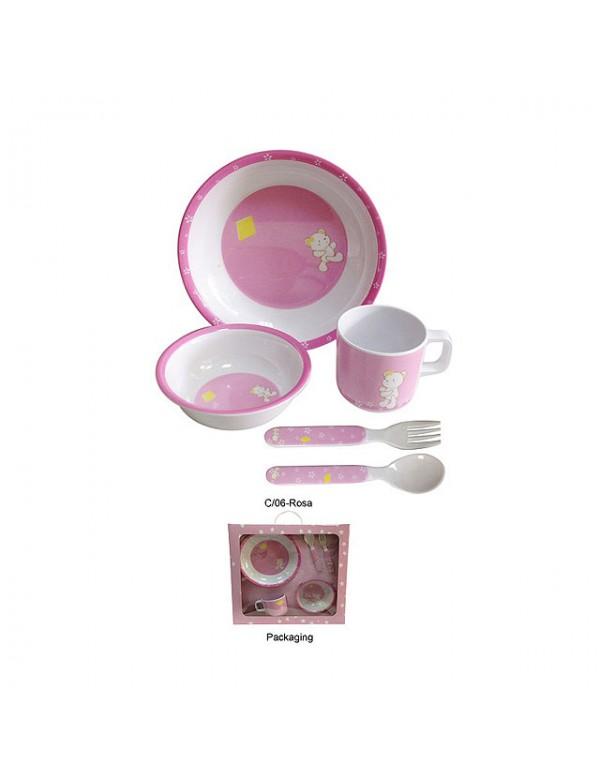 Vajilla beb osito gris o rosa no marca entrega en 48h for Vajilla rosa